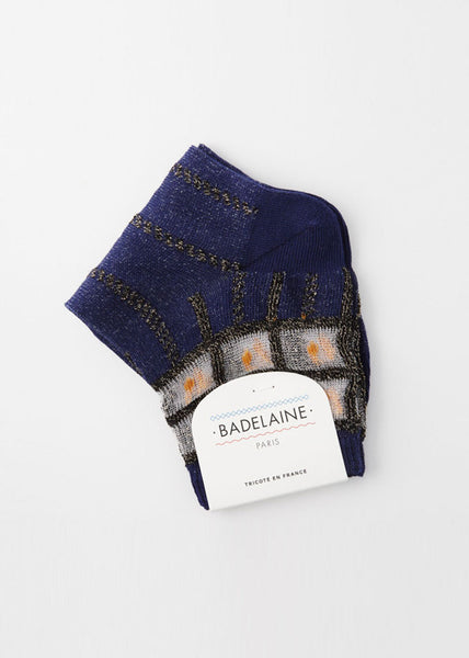 Domino Socks Navy with Black Squares