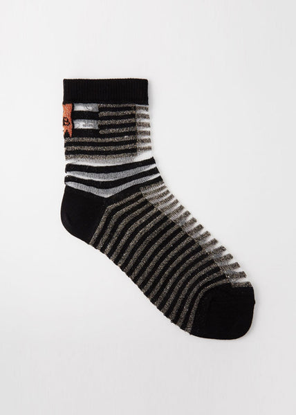 Walk The Line Socks Sheer Shifted Stripes Black