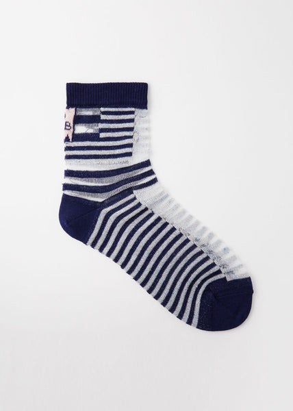 Walk The Line Socks Sheer Shifted Stripes Navy