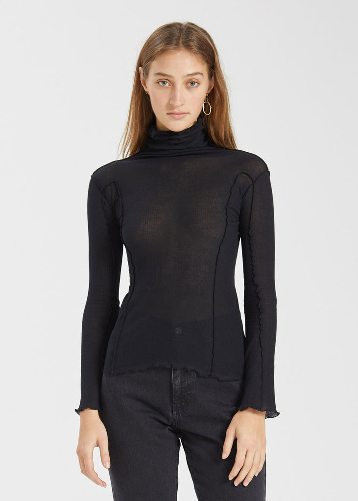 Omato Turtle Neck Top Black