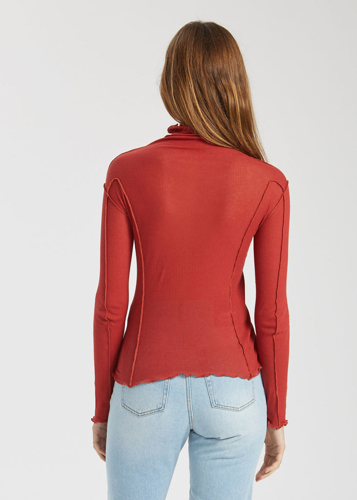 Omato Turtle Neck Top Cherry Red