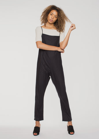 Shankar Raw Silk Jumpsuit Black