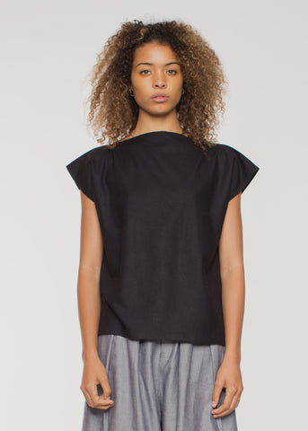 Shankar Raw Silk Tee Black