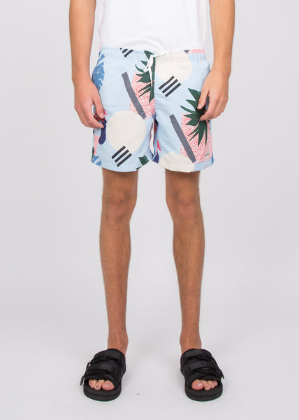 Swim Trunks Blue Abstract