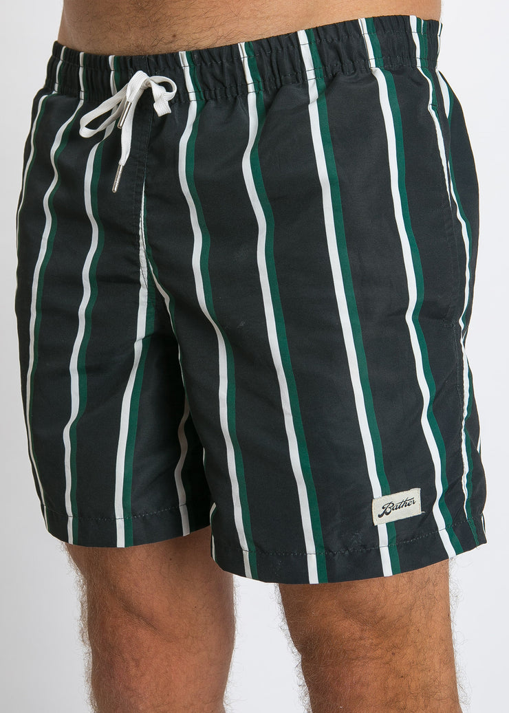 Swim Trunk Green Black Stripe