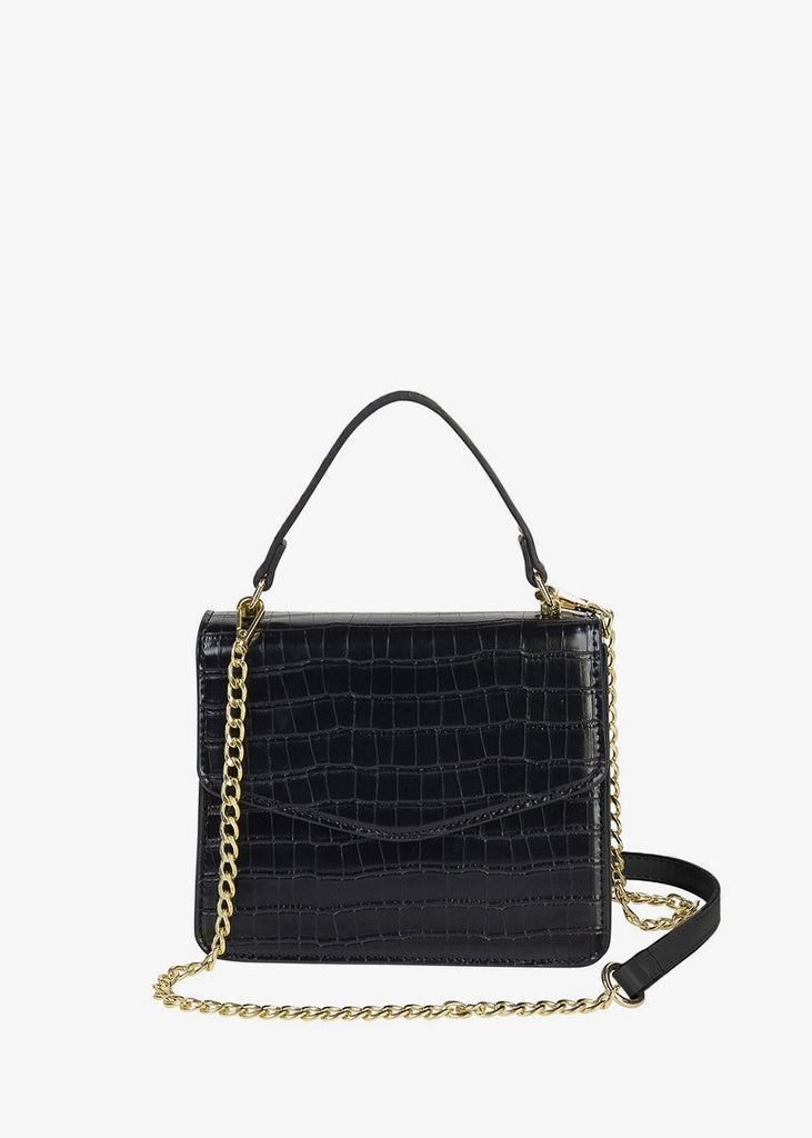 Small Square Bag Black Croc