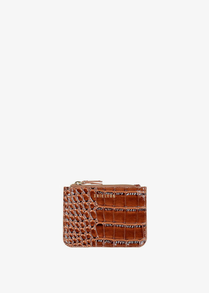 Small Zip Pouch Dark Brown Oily Croc