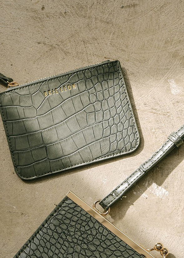 Small Zip Pouch Green Croc Matte