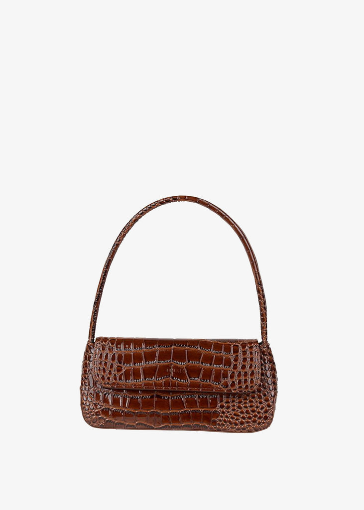 The Camille Bag Dark Brown Oily Croc