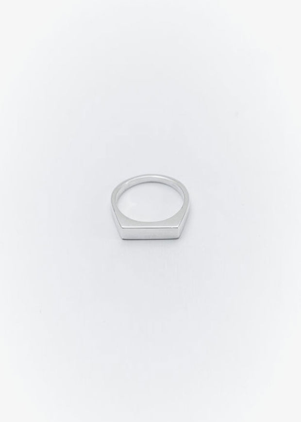 Rectangle Narrow Signet Ring Silver