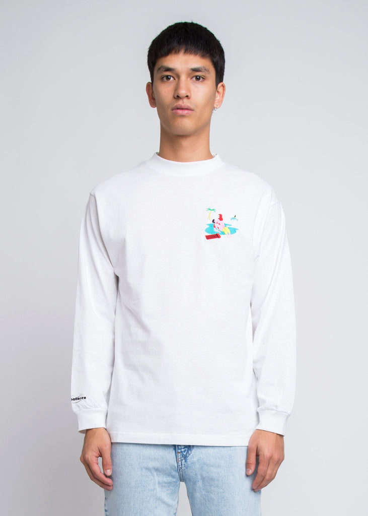 Baise Sur La Plage Long Sleeve Tee White