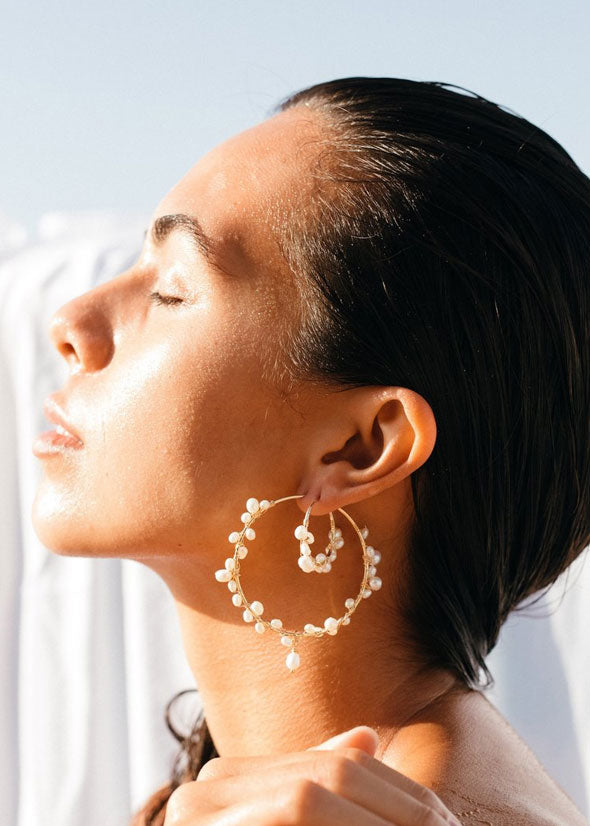 Aiden Small Pearl Hoops Gold