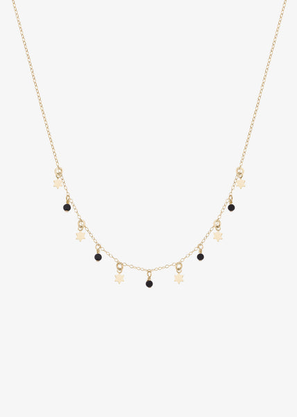 Black Stars Necklace Gold