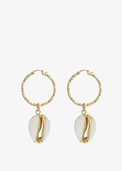 Pacific Earrings Cowrie Shell Gold