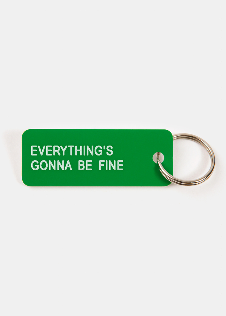 Everything's Gonna Be Fine Key Tag Bright Green/White