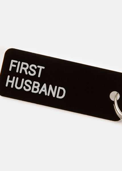 First Husband Key Tag Gloss Black/White