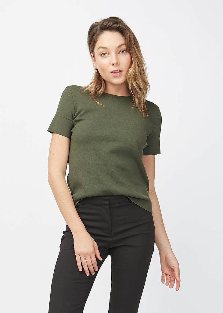 Claudia Crepe Knit Top Forest