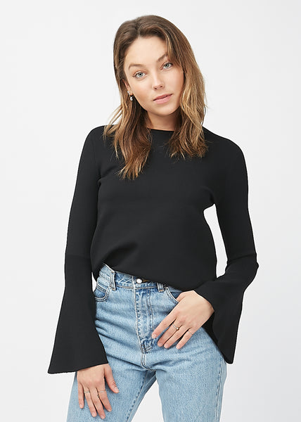 Keena Crepe Knit Top Black