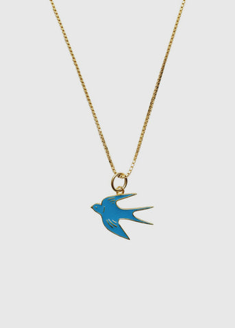 Bluebird Charm With Short Necklace
