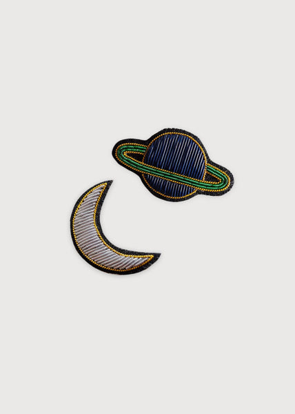 Moon & Saturn Embroided Bullion Pins