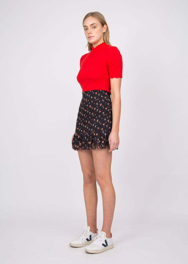 Maggie Silk Skirt Print Red Rose