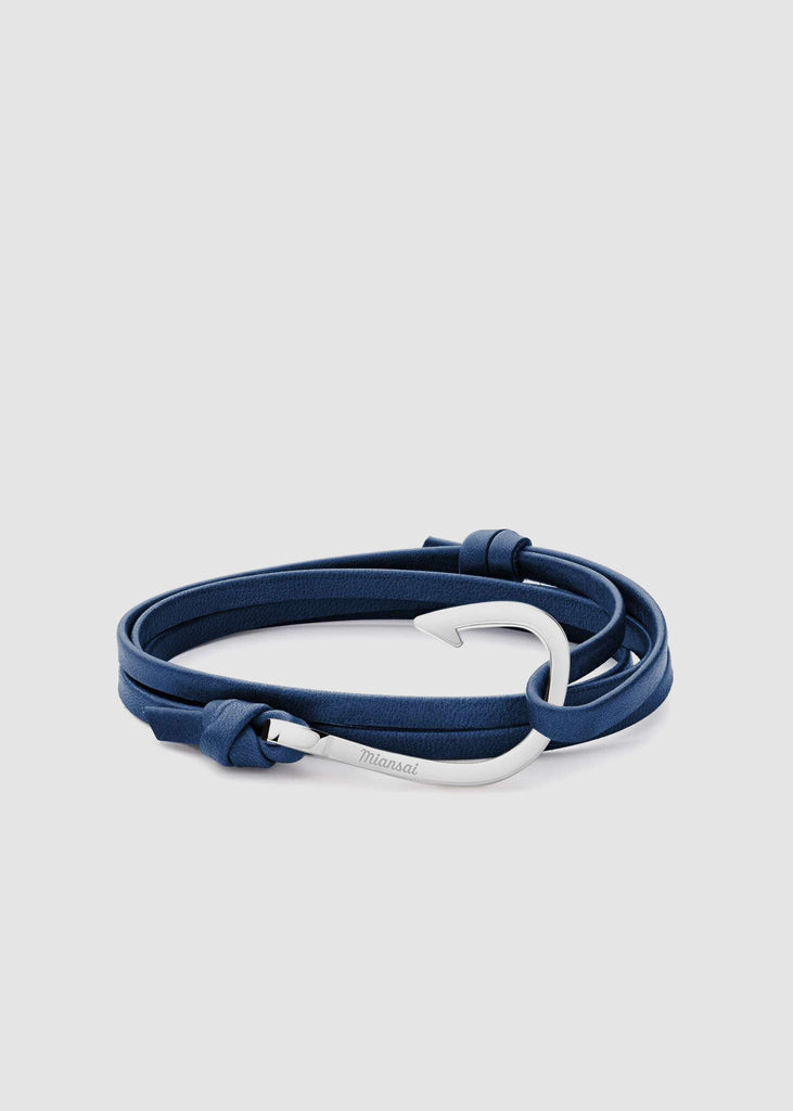 Hook on Leather Bracelet Silver Plated Navy Blue
