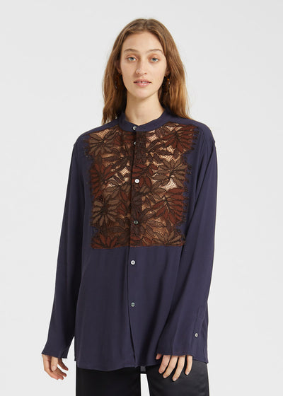 Changes Lace Shirt Dark Blue Golden Brown