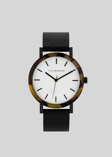 The Resin Range Watch Tortoise Shell/White Dial/Black Band