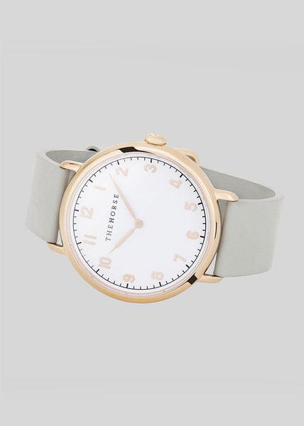 The Heritage Watch Polished Gold/White Dial/Grey Leather