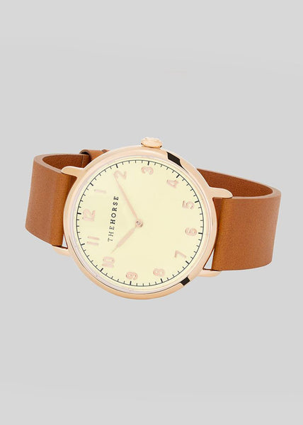 The Heritage Watch Polished Rose Gold/Off White Dial/Tan Leather
