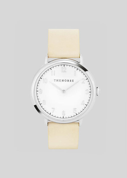 The Heritage Watch Polisher Silver/White Dial/Vegetable Tan Leather