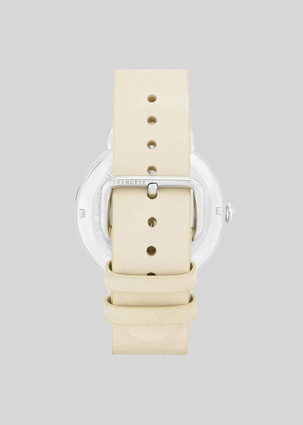The Heritage Watch Polished Silver/White Dial/Vegetable Tan Leather