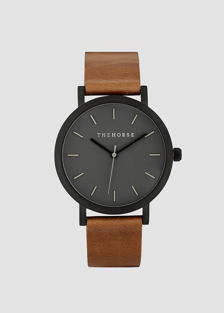The Mini Original Watch Matte Black Case/Grey Dial/Tan Band