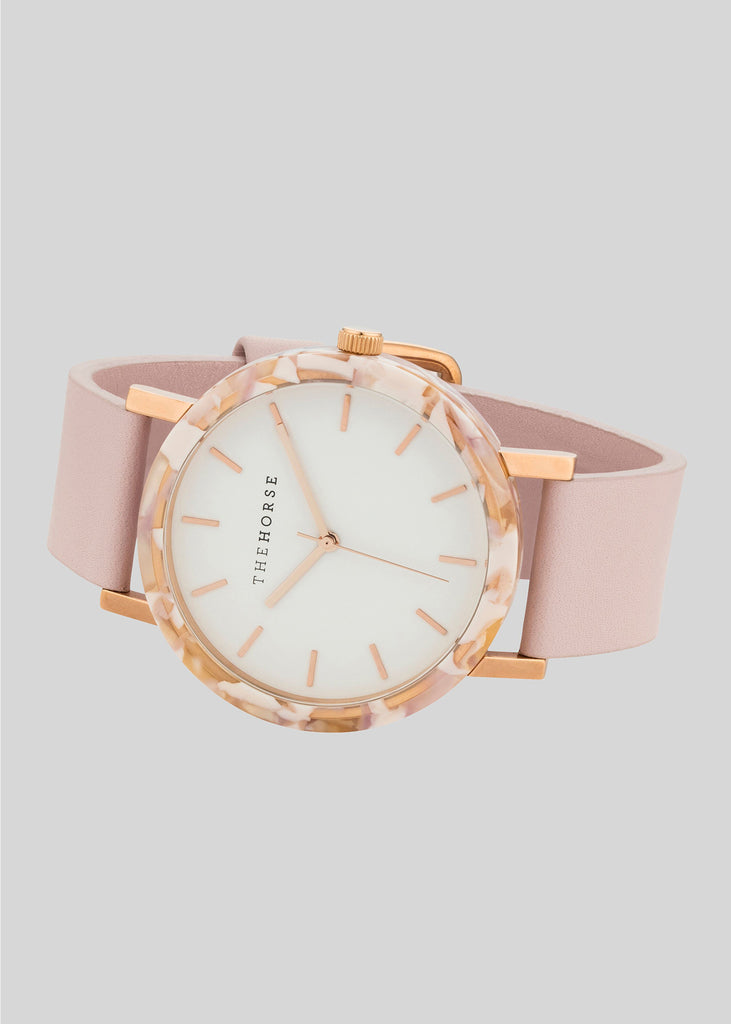 The Resin Range Watch Pink Nougat/White Dial/Baby Pink Band