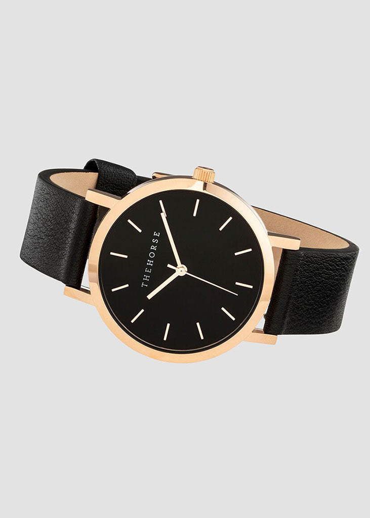 The Mini Original Watch Rose Gold Case/Black Dial/Black Strap
