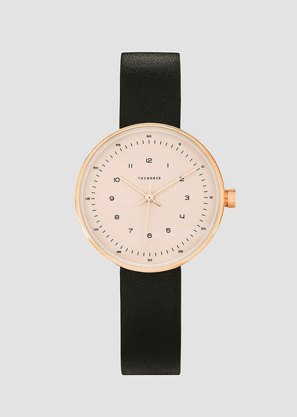 The Minimal Watch Rose Gold/Blush Dial/Black Strap