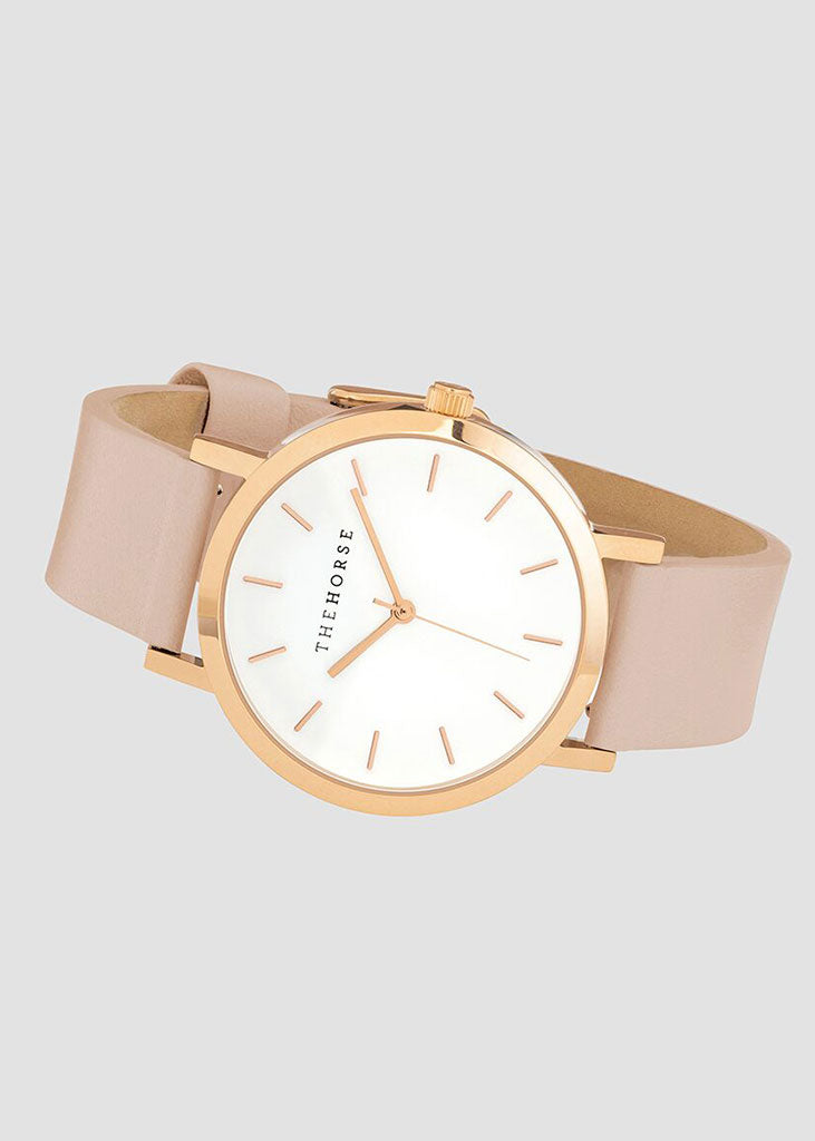 The Mini Original Watch Rose Gold Case/White Dial/Blush Strap