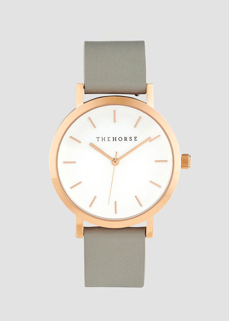The Mini Original Watch Rose Gold Case/White Dial/Grey Strap