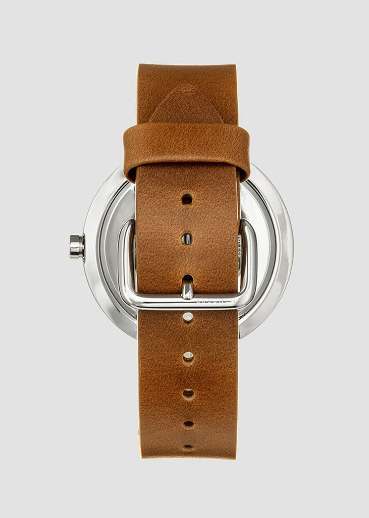 The Minimal Watch Silver Case/White Dial/Tan Strap