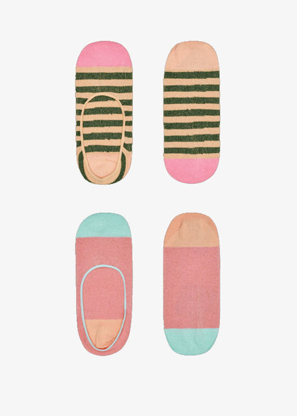 Claudia Invisible Socks 2 Pack Pink Stripe