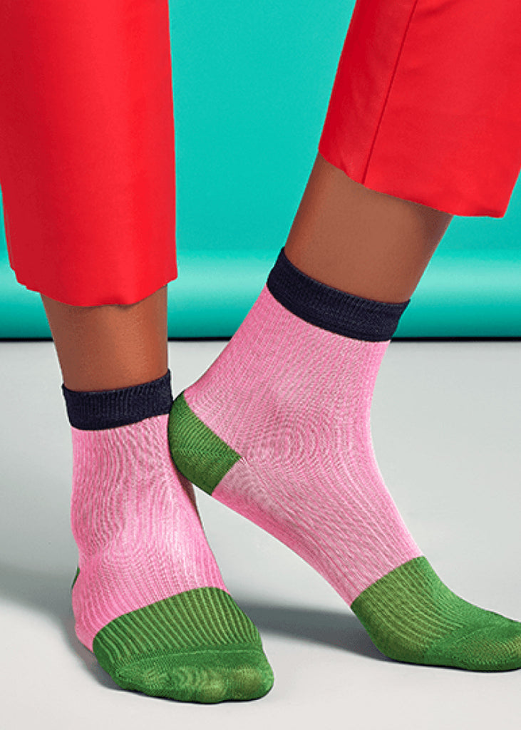Janna Ankle Socks Pink/Green