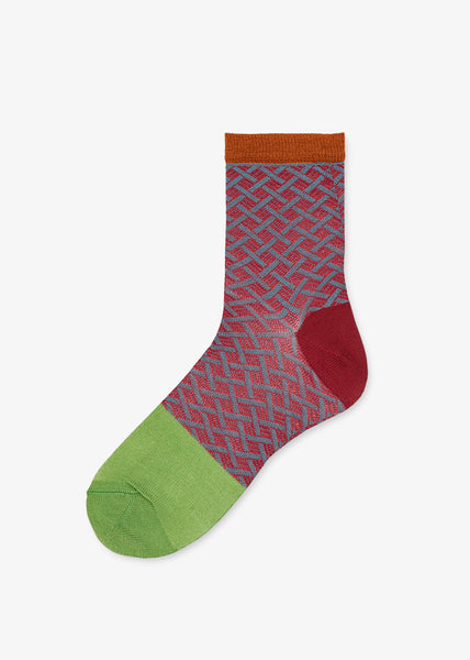 Jill Ankle Socks Red/Green