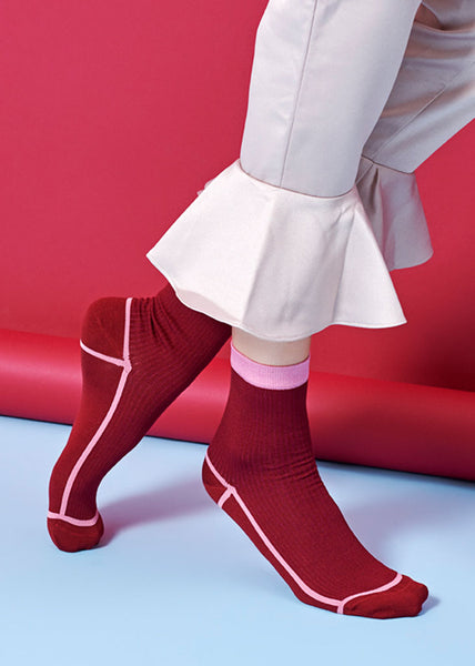 Lily Ankle Socks Burgundy/Pink