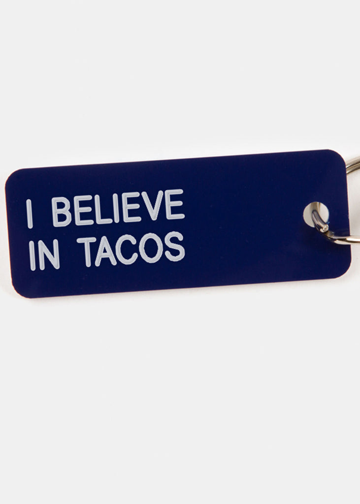 I Believe in Tacos Key Tag Blueberry/White