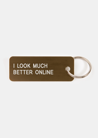 I Look Much Better Online Key Tag Brushed Bronze/White