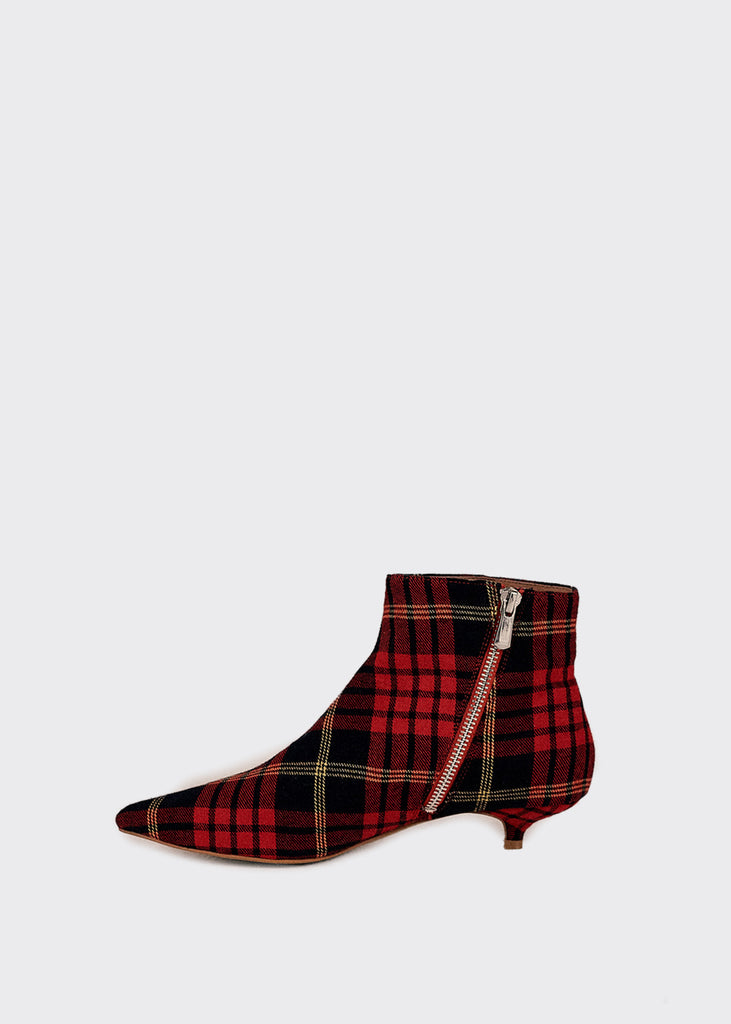 Rise Plaid Kitten Heel Boot Rose