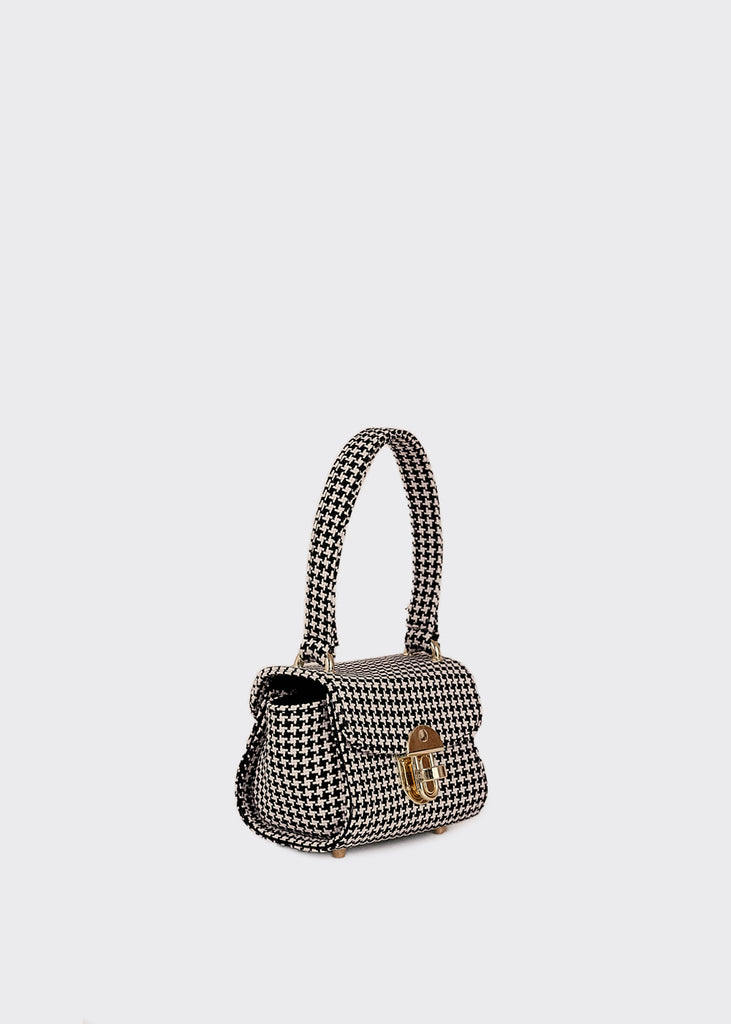 Mini Houndstooth Bag Black