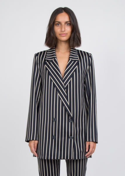 Laurent Blazer Blue White Stripe