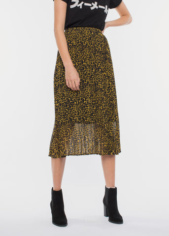 Moe Pleated Skirt Leopard