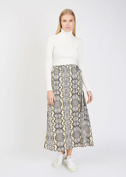 Naomi Wrap Skirt Golden Sun Snake AOP